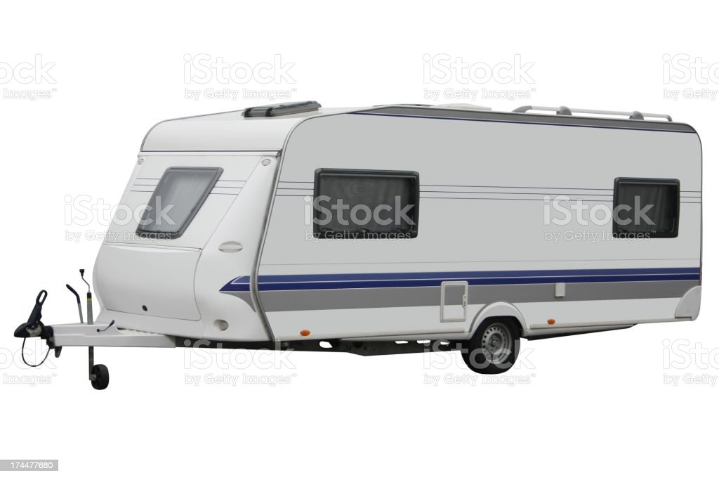 A white and blue caravan trailer on a white background royalty-free stock photo