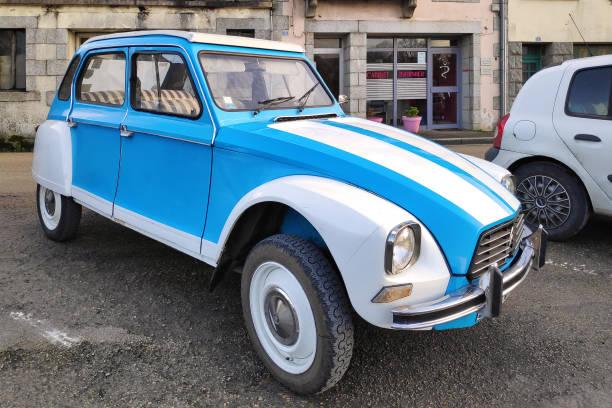 White and blue Citroën 2CV stock photo
