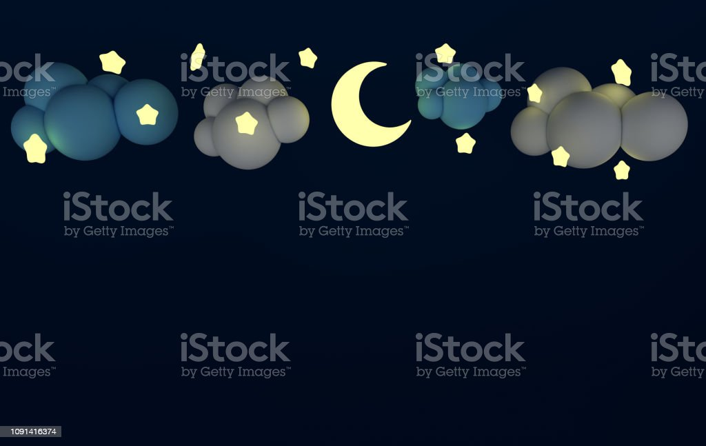 White and blue clouds and the lighting stars with moon on the dark...