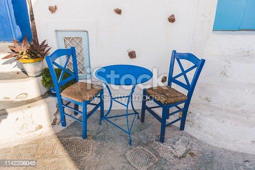 White and Blue colors on street of Pyrgos, Santorini, Greece
