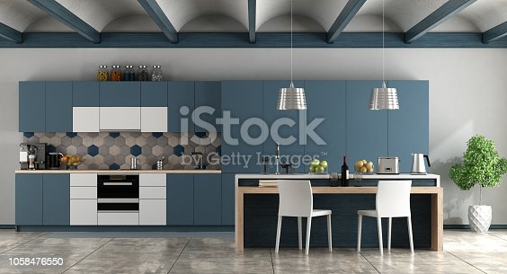 White and blue contemporary kitchen with arched ceiling and cement floor - 3d rendering Note: the room does not exist in reality, Property model is not necessary