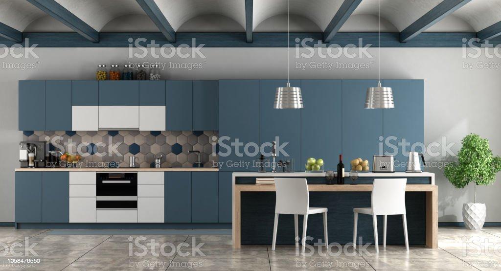 White and blue contemporary kitchen - foto stock