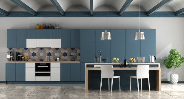 white and blue contemporary kitchen - kitchen imagens e fotografias de stock