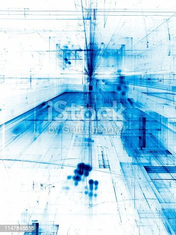 White and blue technology or business background - abstract computer-generated illustration. Technology or sci-fi backdrop with straight lines and curves  like scratches, perspective and light effects. Vertical composition.