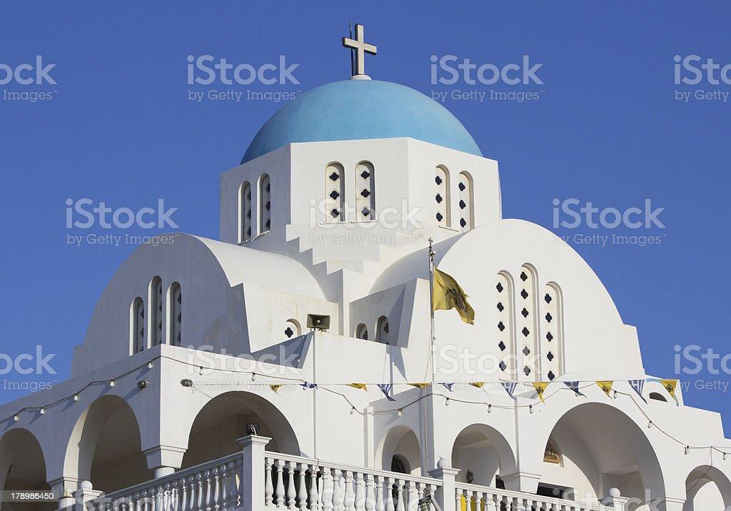 White and blue Greek church stock photo