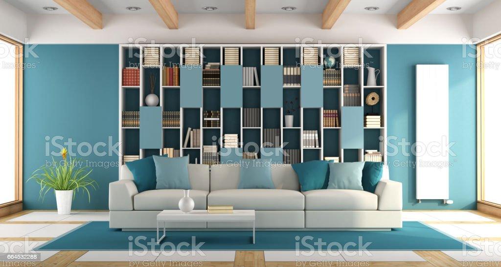 Weiß und blau großes Wohnzimmer – Foto