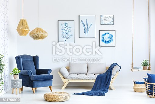 istock White and blue living room 691796920