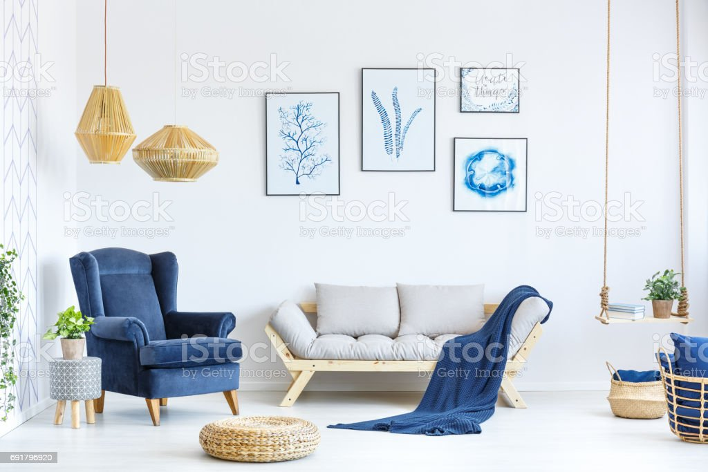 White and blue living room stock photo