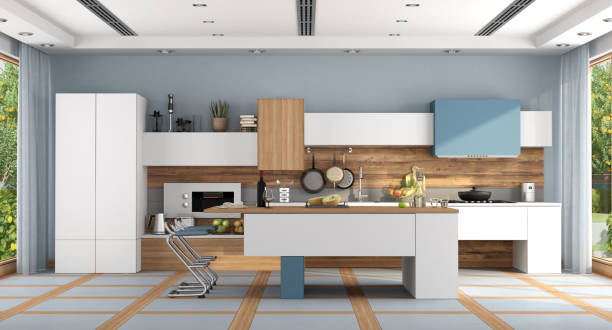 White and blue modern kitchen stock photo