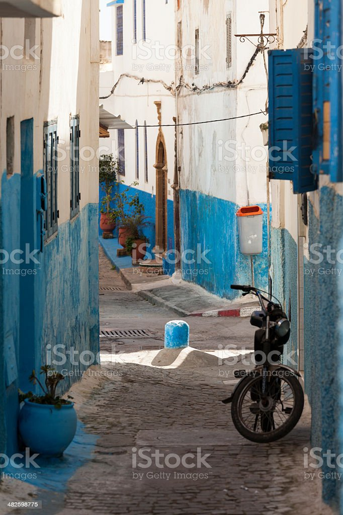 White and blue streets in the Kasbah des Oudaias stock photo