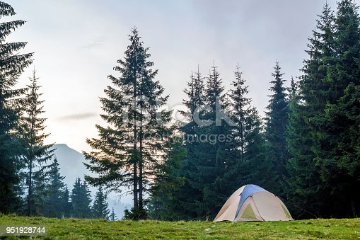 istock White and blue tourist tent on green meadow between evergreen fir-trees forest with beautiful mountain in distance. Tourism, outdoor activities and healthy lifestyle. 951928744