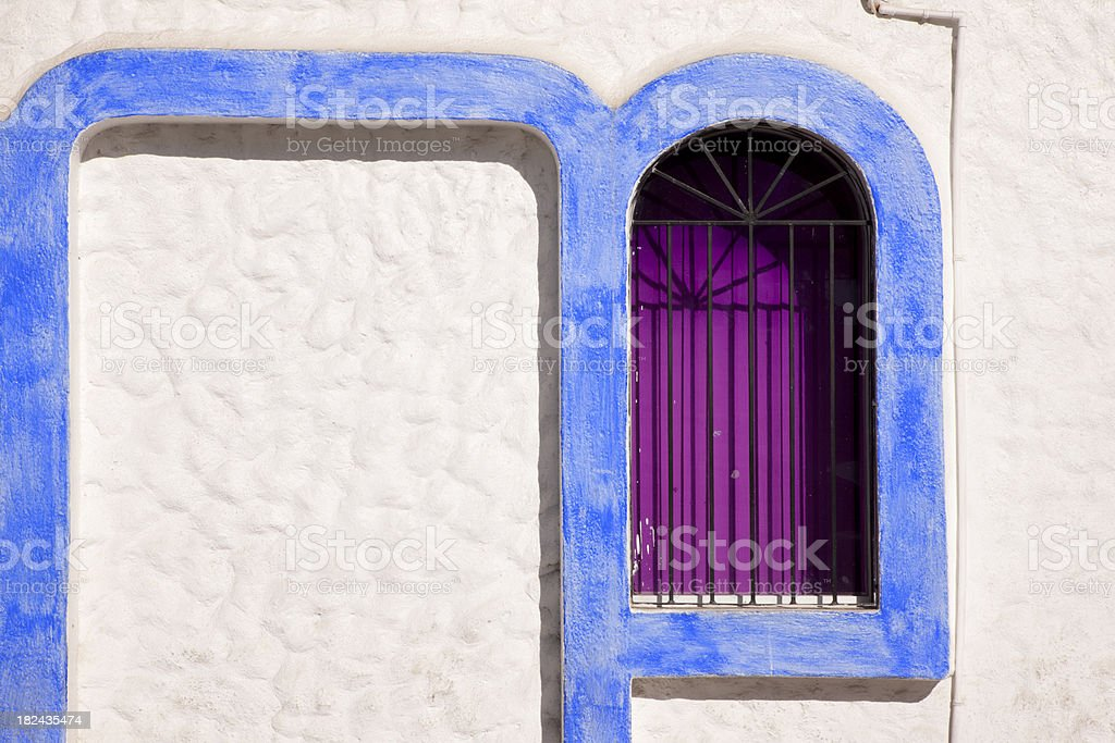White and Blue Window with Curved Trim royalty-free stock photo