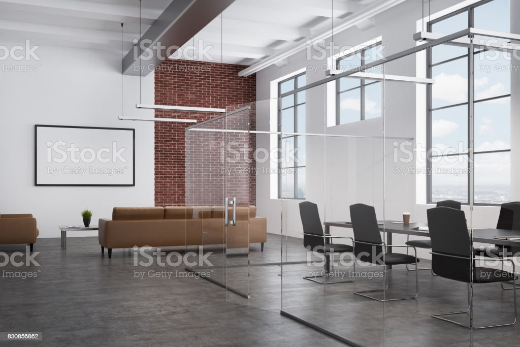 White and brick waiting area and a meeting room stock photo