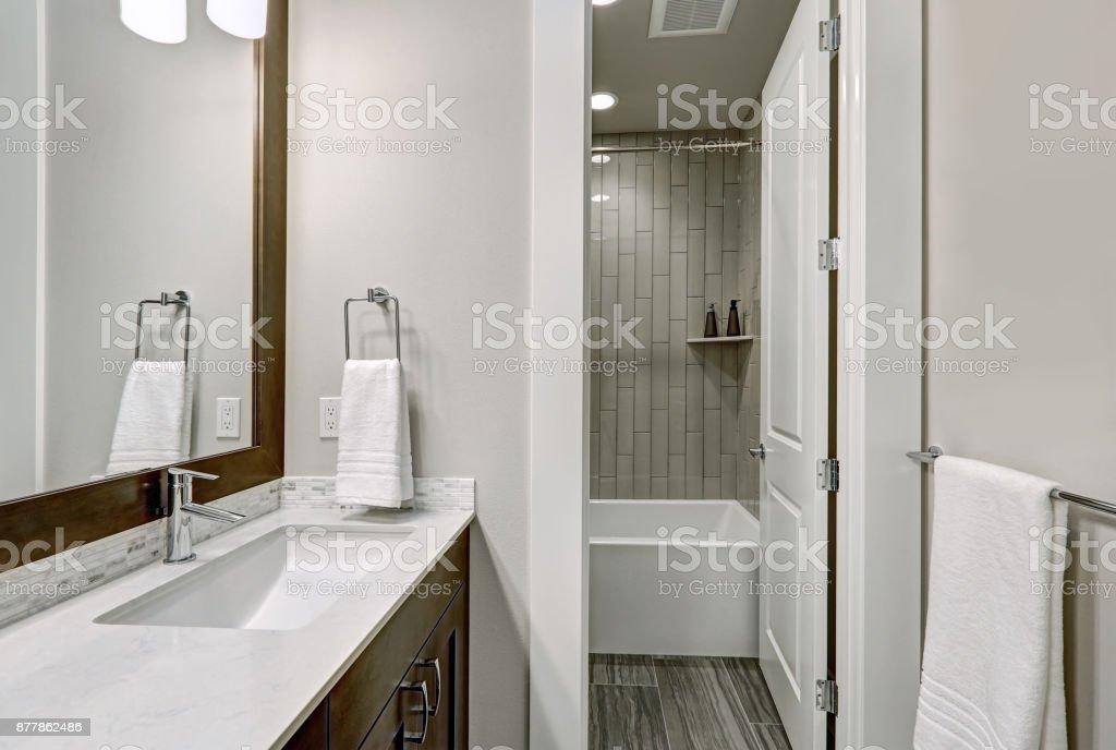 Witte en bruine badkamer beschikt over een hoekje gevuld met