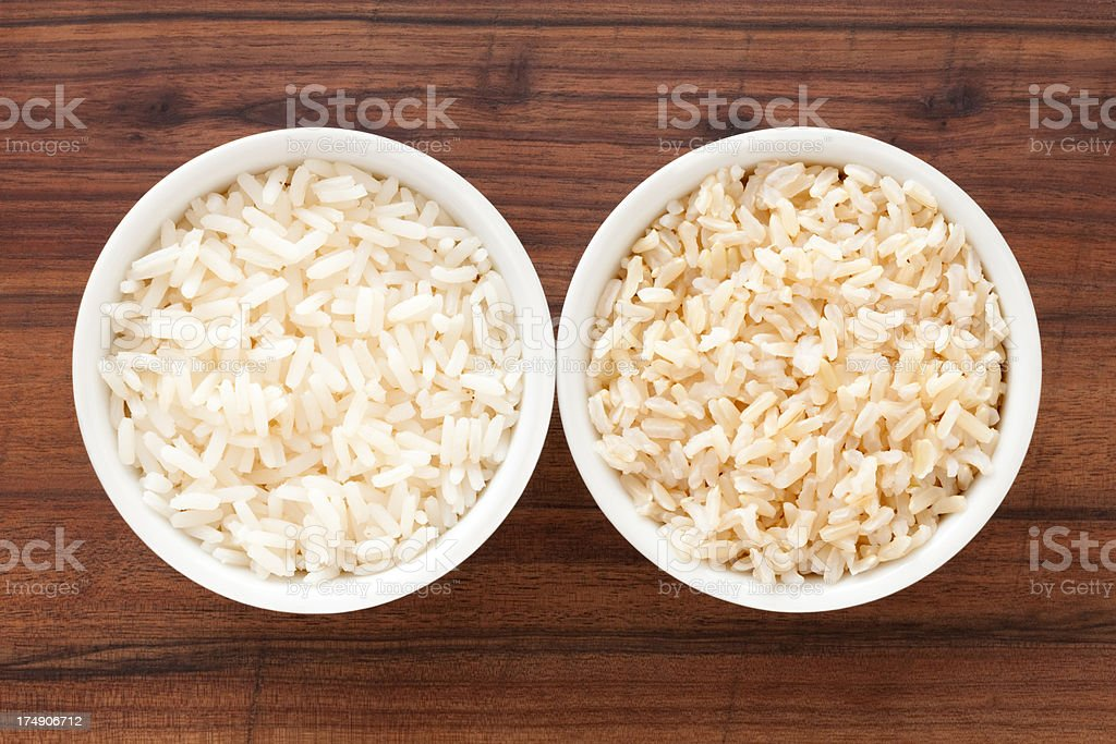White and brown boiled rice stock photo