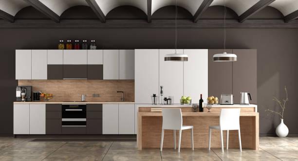 weiße und braune moderne küche - geschlossene küchen stock-fotos und bilder