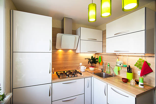 White and brown interior for small kitchen stock photo