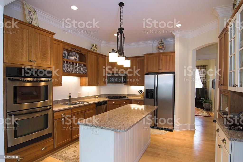White and brown kitchen interior royalty-free stock photo