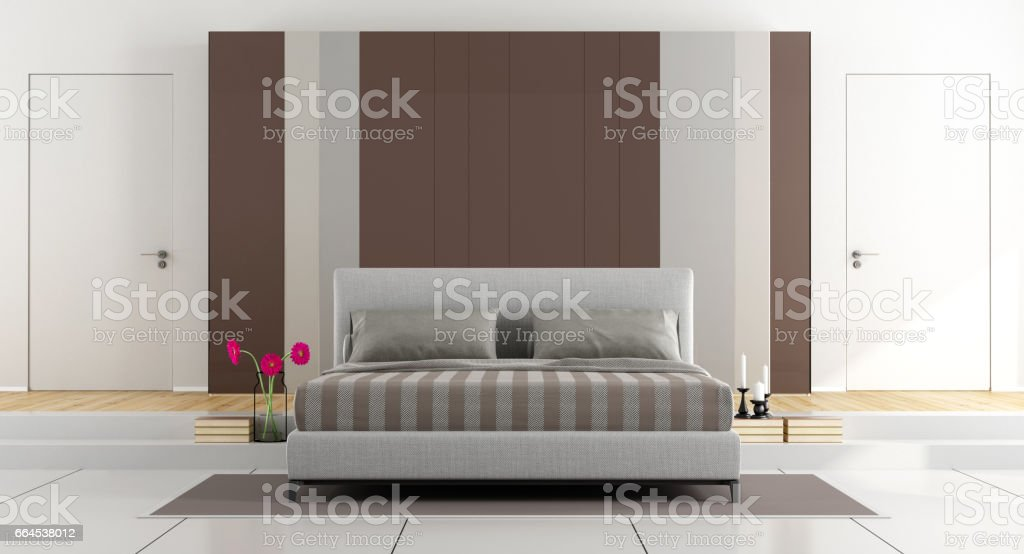 White and brown modern bedroom royalty-free stock photo