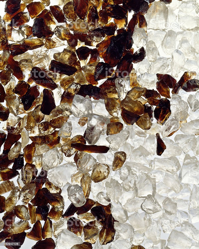 White and brown sugar crystals stock photo
