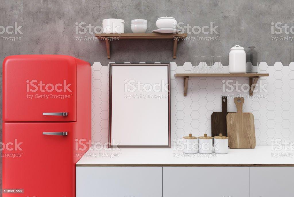 Weiß Und Konkrete Küche Roten Kühlschrank Stockfoto und mehr ...