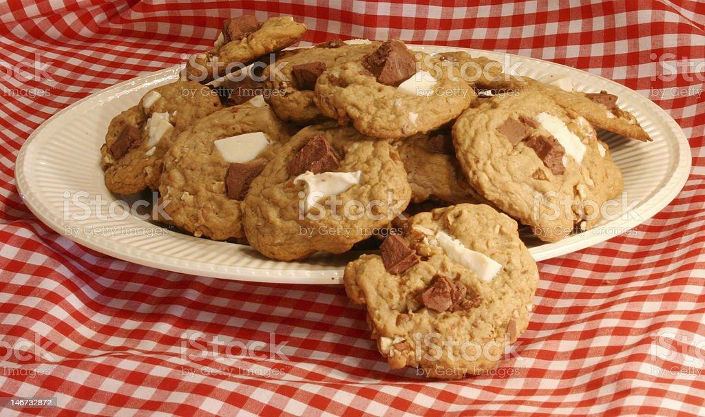 White and Dark Chocolate Chip Cookies royalty-free stock photo