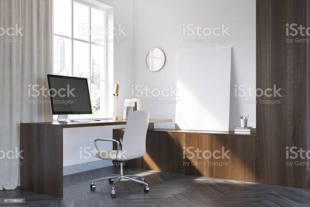 Coin de bureau en bois blanc et noir affiche u photos et plus d