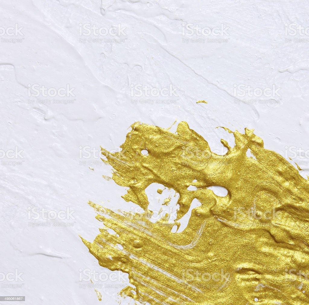 Bianco E Oro Con Texture Sfondo Di Pittura Acrilica Fotografie