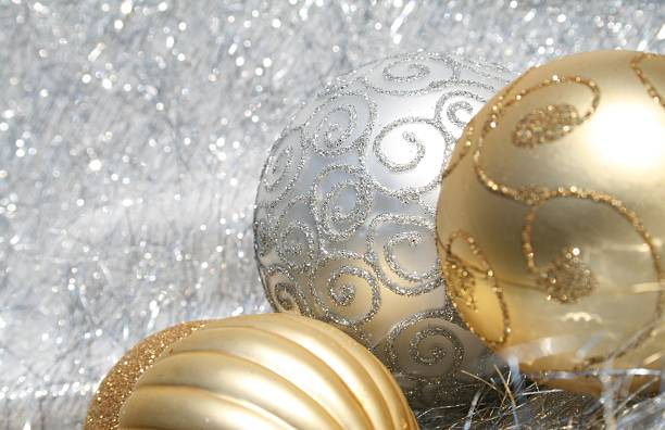 White and Gold Christmas border stock photo