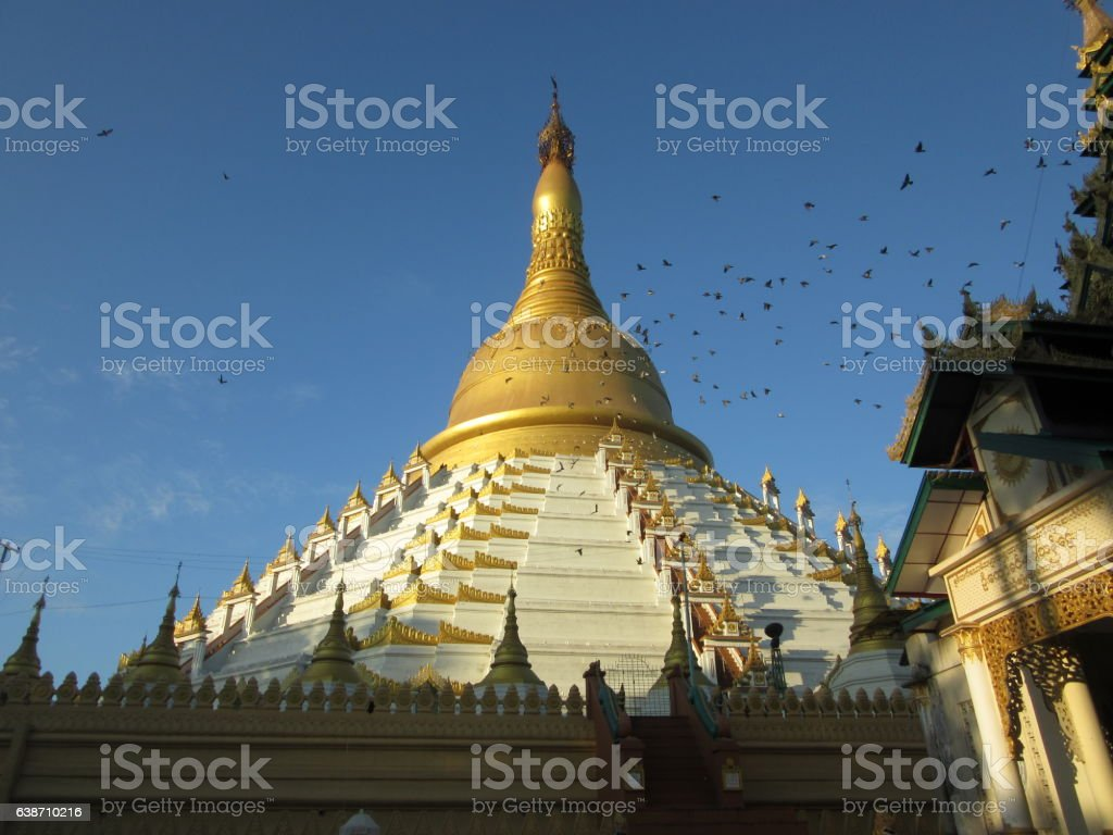 White and Gold Stupa, Bago, Myanmar stock photo