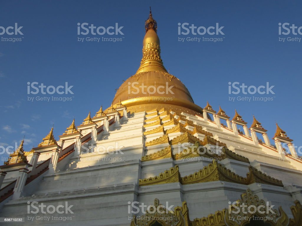 White and Gold Stupa, Bago, Myanmar stock photo