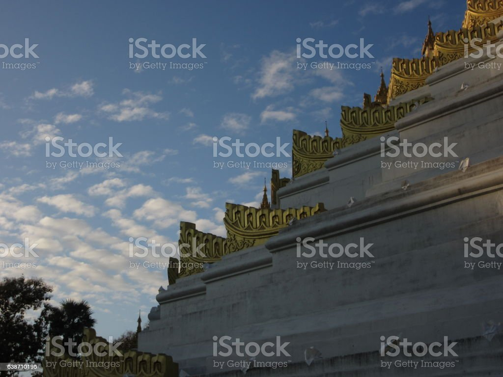 White and Gold Stupa Corner, Bago, Myanmar stock photo