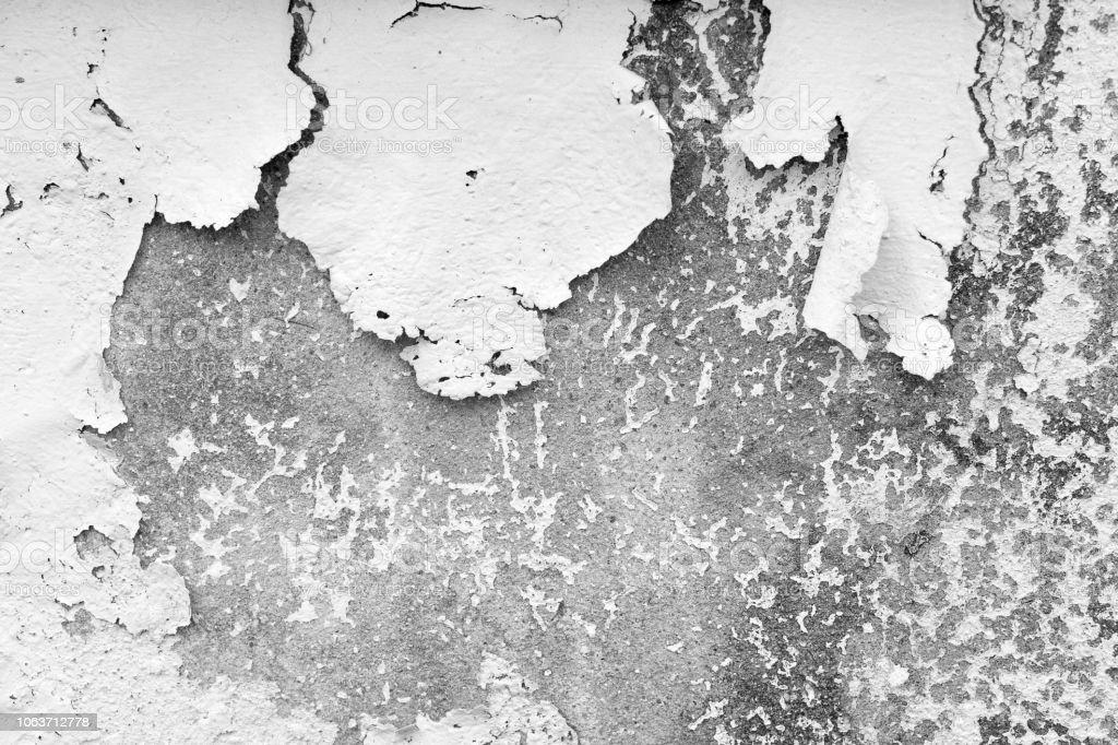 Fondo blanco y gris. Agrietarse y peladura de pintura de un muro de hormigón - foto de stock