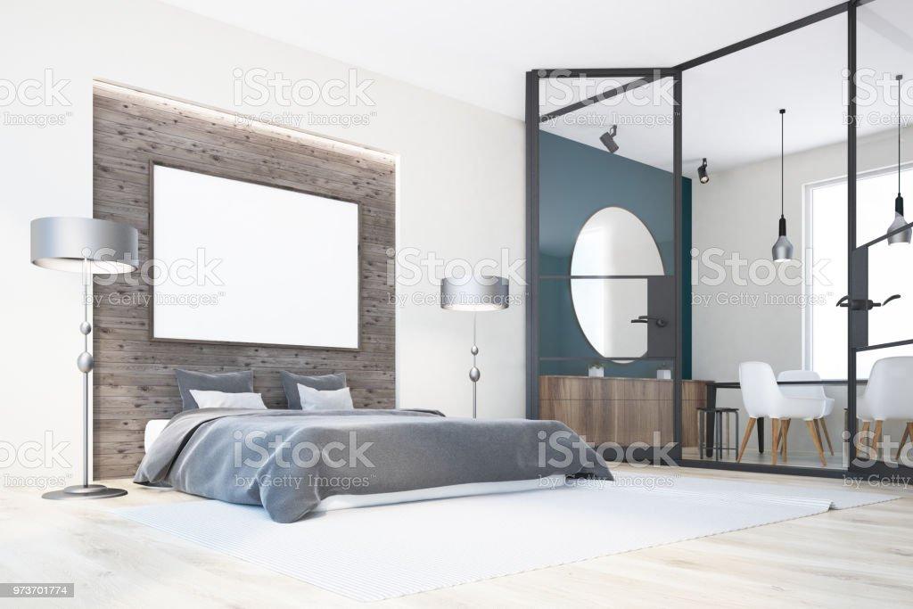 Chambre à coucher blanc et gris bureau à domicile affiche u2013 photos