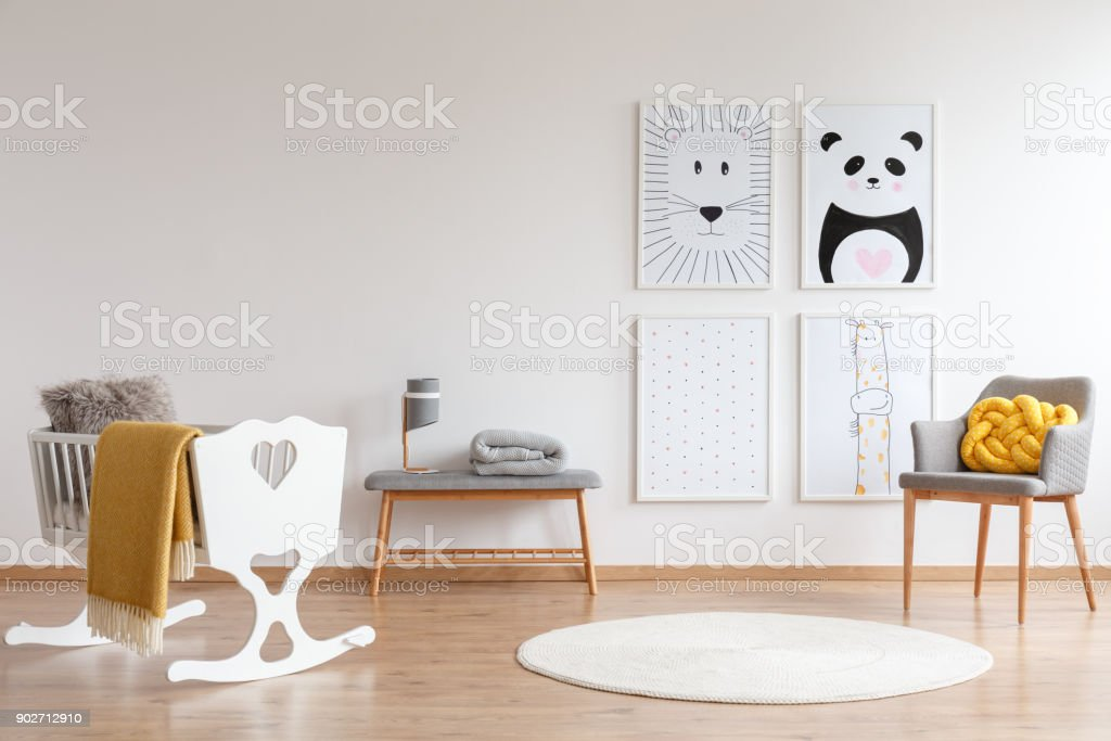 White and gray bedroom stock photo