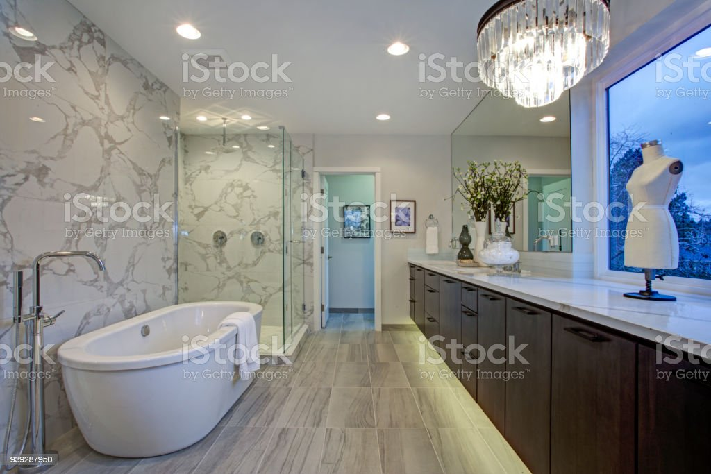 White And Gray Calcutta Marble Bathroom Design Stock Photo Download Image Now Istock