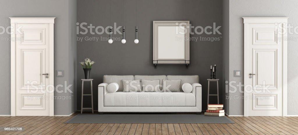 Weiße und graue klassische Wohnzimmer - Lizenzfrei Architektur Stock-Foto
