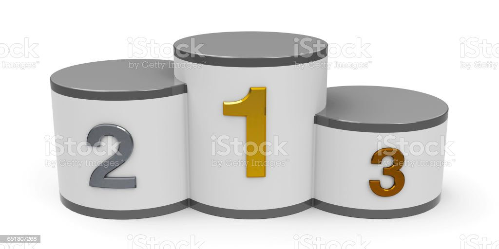 White and gray cylinder podium stock photo
