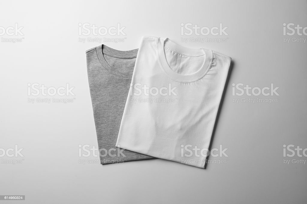 White and Gray folded T-Shirt Mock-up - foto de stock