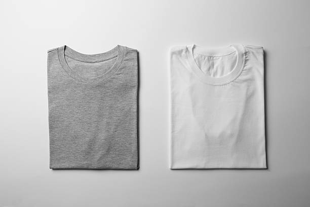 white and gray folded t-shirt mock-up - 접힌 뉴스 사진 이미지