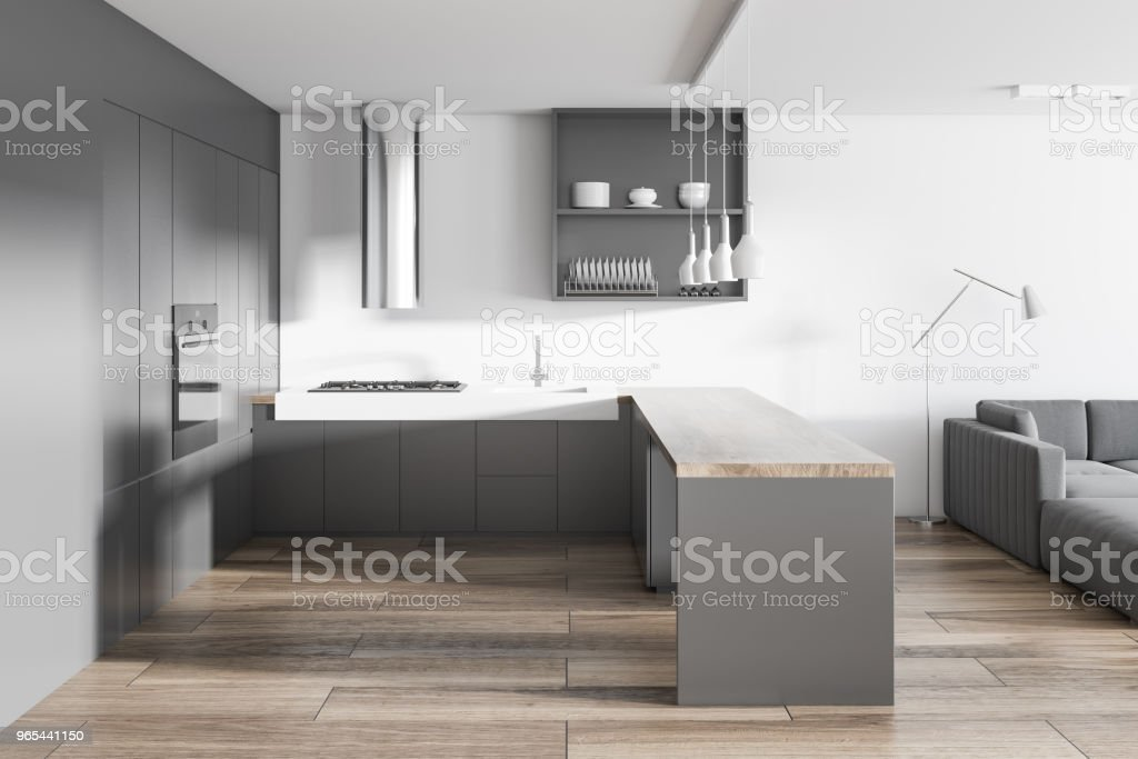 White and gray kitchen and living room interior zbiór zdjęć royalty-free