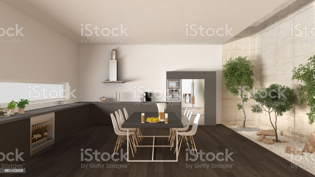 White and gray kitchen with inner garden, minimal interior design royalty-free stock photo