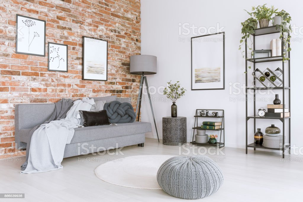 White and gray living room stock photo