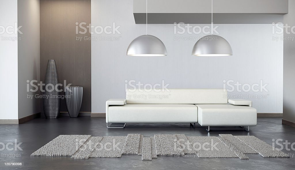 White and gray modern living room royalty-free stock photo