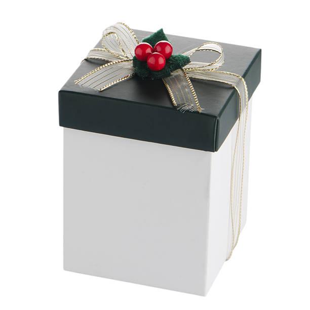white and green box mit goldenen schleife - versandrolle stock-fotos und bilder