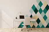 White and green diamond pattern home office