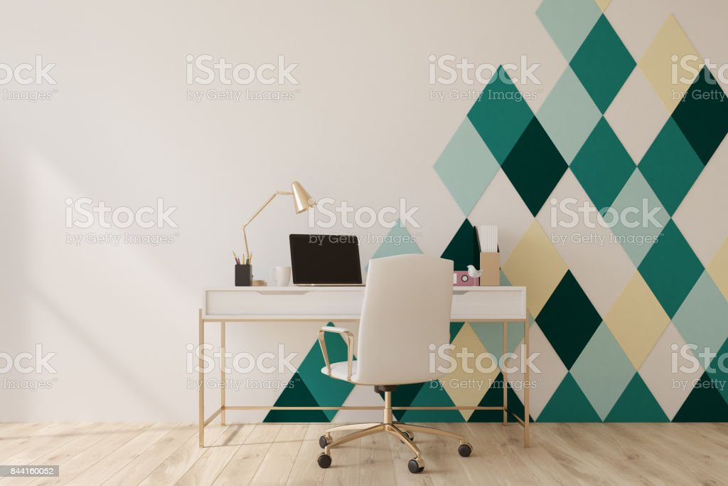 White and green diamond pattern home office stock photo