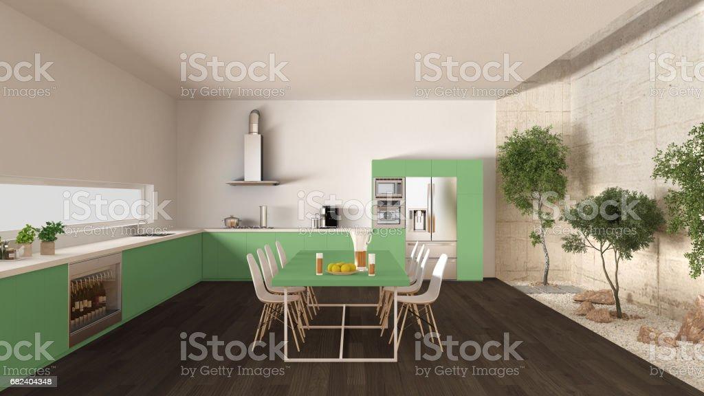 White and green kitchen with inner garden, minimal interior design royalty-free stock photo