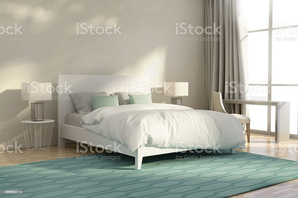 White And Green Luxury Bedroom With Armchair And Rug Stock Photo Download Image Now Istock