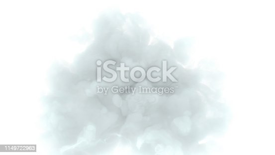 istock White and grey cloud om white background 3d render 1149722963
